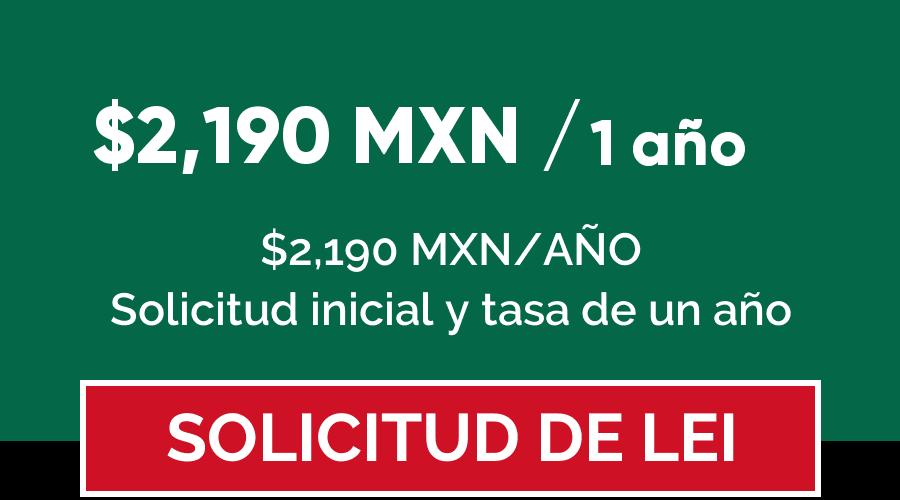 Precio código LEI en México por 1 año