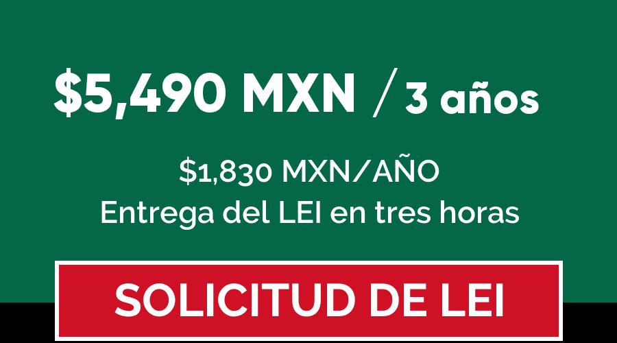 Precio código LEI en México por 3 años