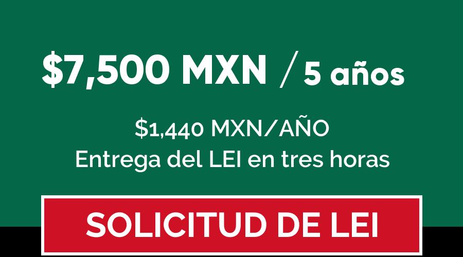 Código LEI precio en México por 5 años